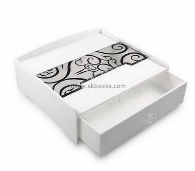 Customized white acrylic drawer box with printing BMB-006