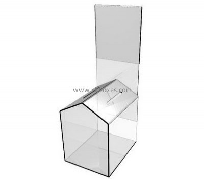 Custom design house shape acrylic ballot box with brochure insert BBS-008