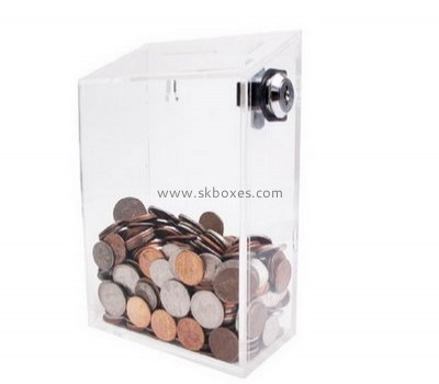 Custom acrylic donation containers money collection box donation boxes with locks BDB-020