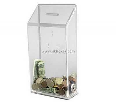 Custom acrylic charity money collection boxes money donation box coin donation boxes BDB-028