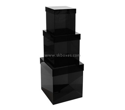 Customize black plastic box with lid BDC-1412
