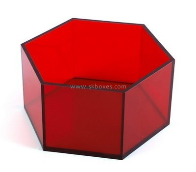 Customize perspex hexagon display box BDC-1854