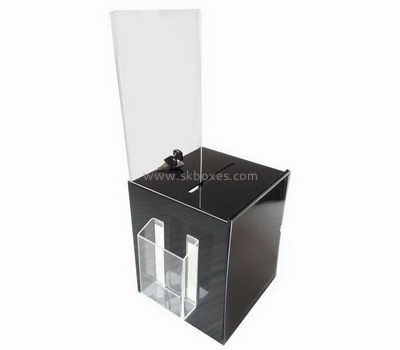Black acrylic donation box with sign holder BBS-702