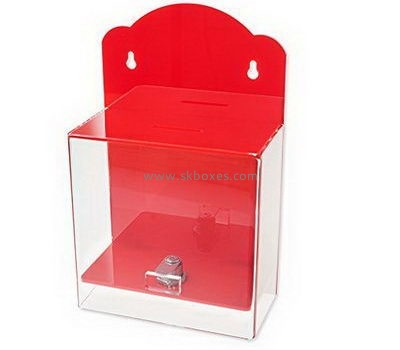 Wall mounted acrylic ballot box with lock BBS-706