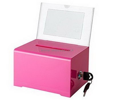 Pink acrylic suggestion box with lock and sign holder BBS-713