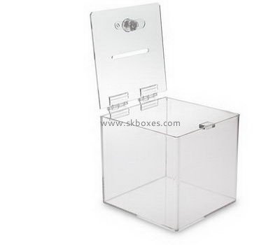 Square clear acrylic suggestion box with lock BBS-710
