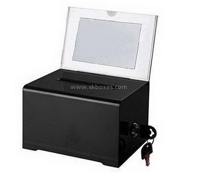 Black acrylic suggestion box with sign holder BBS-711