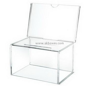 Clear acrylic ballot box with sign holder BBS-717