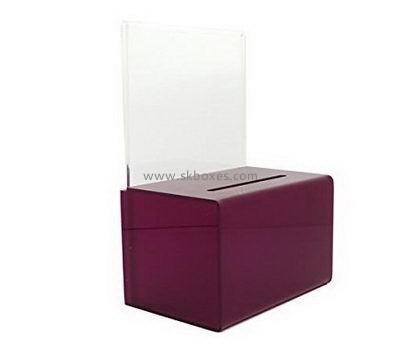 Brown acrylic suggestion box with sign holder BBS-731