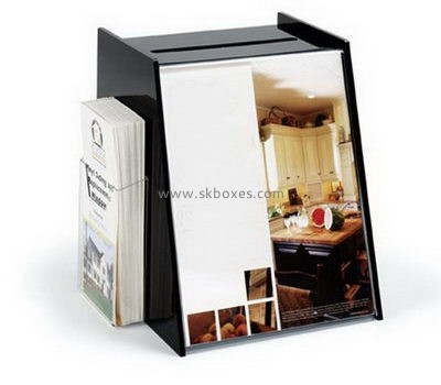 Custom black acrylic ballot box with brochure holder BBS-736