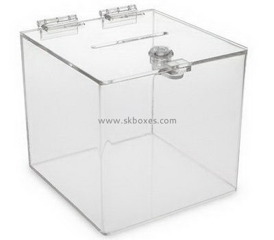 Customize clear acrylic election box with lock BBS-742