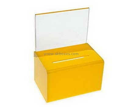 Customize yellow acrylic ballot box with sign holder BBS-762