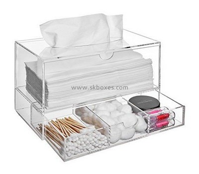 Customize clear acrylic tissue box with 3 drawers BDC-1877