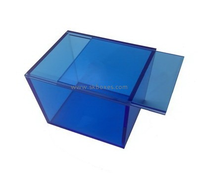 Custom blue acrylic sliding lid box BDC-1907