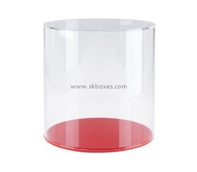 Custom round acrylic box with red base BDC-1980