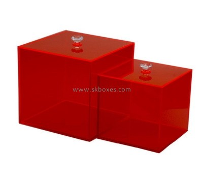 Custom square red acrylic box with lid BDC-2022