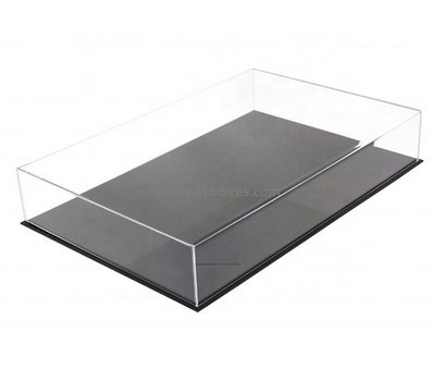 Custom 5 sided flat clear acrylic display case with black base BDC-2065