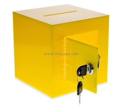 Custom yellow acrylic lockable donation box BDC-2079