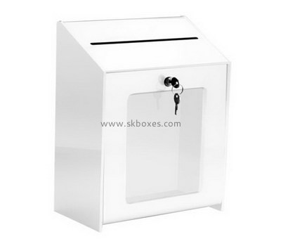 Custom lockable acrylic suggestion box with sign holder BDC-2084