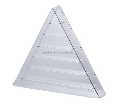 Custom tiered triangle acrylic display case BDC-2087