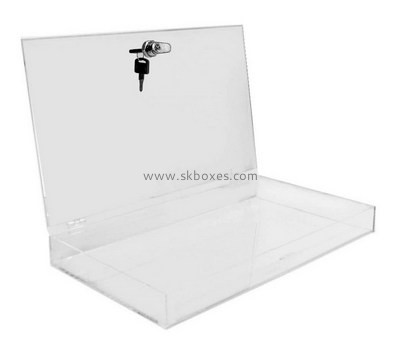 Custom flat acrylic lockable box BDC-2112