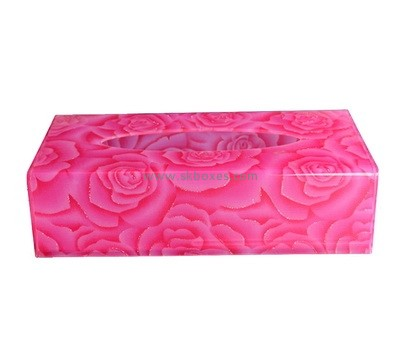 Custom pink plexiglass tissue paper box BDC-2243